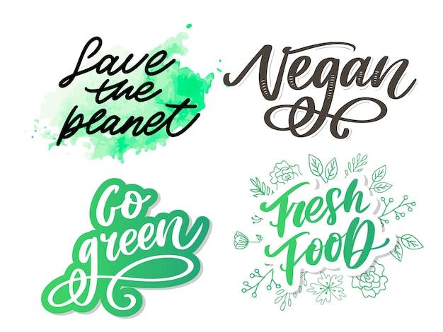 Перейти к зеленой творческой экологической концепции. природа дружественные кисти пера надписи композиция на проблемных фоне