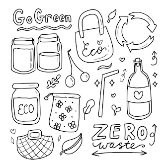 Go green eco icon drawing doodle collection