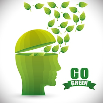 Go green and ecology theme design, vector illustration graphic