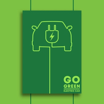 Go green and electric car typography minimal design for poster.