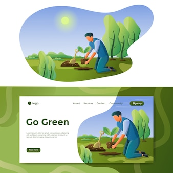 Go green illustration landing page