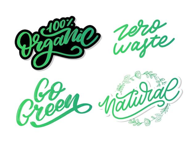 Ярлык go green, модные надписи, вдохновляющие фразы. вегетарианская концепция. векторная каллиграфия для веганского магазина, кафе, меню ресторана, значков, наклеек, баннеров, логотипов. современная типографика
