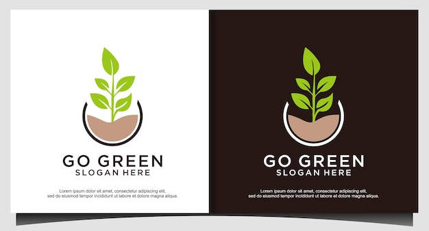 Перейти зеленый лист дизайн логотипа вектор