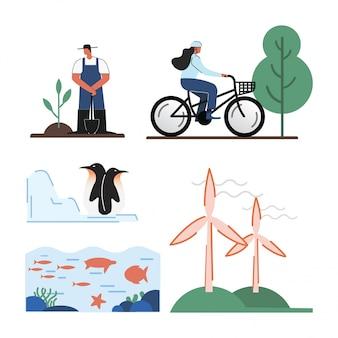 Go green life illustration vector