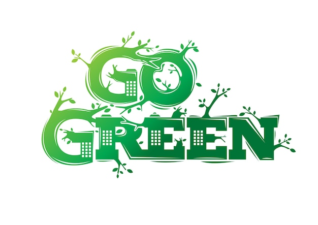 Go green logo with city building illustration