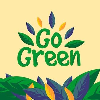 Идти зеленый логотип с листьями