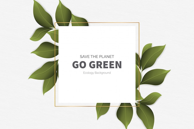 Go green modern background with leaves