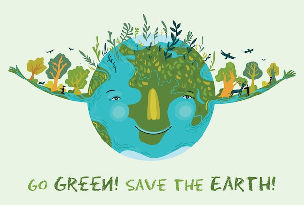 Go green, save the earth. vector cute ecological illustration.