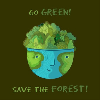 緑になって森を救え!ベクトルかわいい生態学的なイラスト。