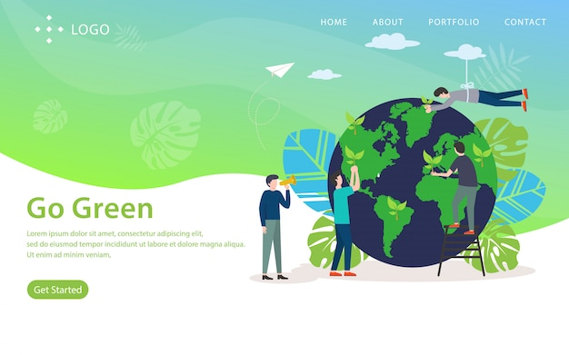 Go green, website vector illustration
