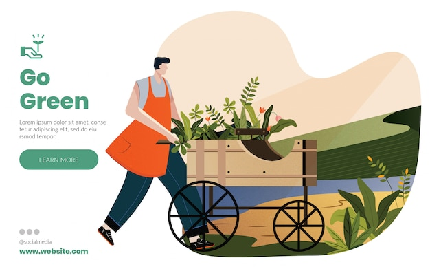 Go green with nature landing page layout