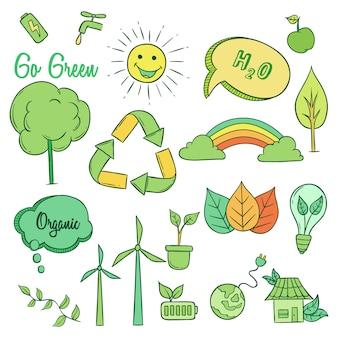 Коллекция значков go green с рисованной или каракули стиль