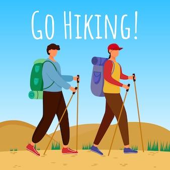 소셜 미디어 게시물 하이킹을 가십시오. 산 여행에 커플. 활동적인 휴가. 광고 웹 배너 디자인 서식 파일입니다. 소셜 미디어 부스터. 프로모션 포스터, 평면 삽화가있는 인쇄 광고