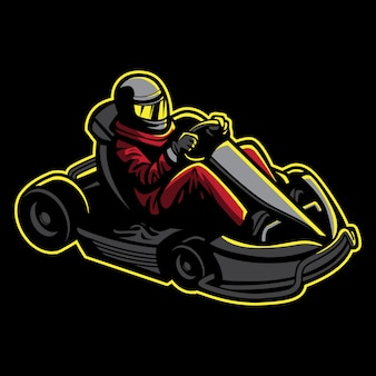 Go kart illustration in retro style