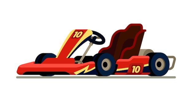 Go kart racing in modern flat style