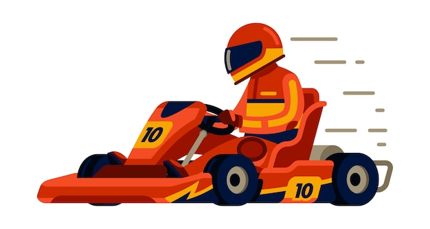 Go kart racing with racer in modern  flat style