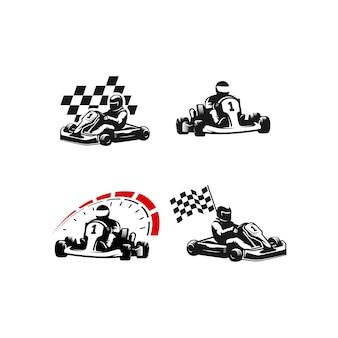 Go kart silhouette logo set