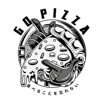 Go pizza black and white illustration