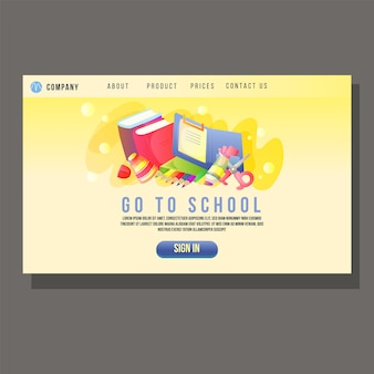 Go to school education landing page student cute object