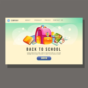 Go to school education landing page student stationary