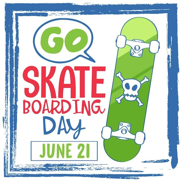 漫画のスタイルでスケートボードの日のバナーに行く