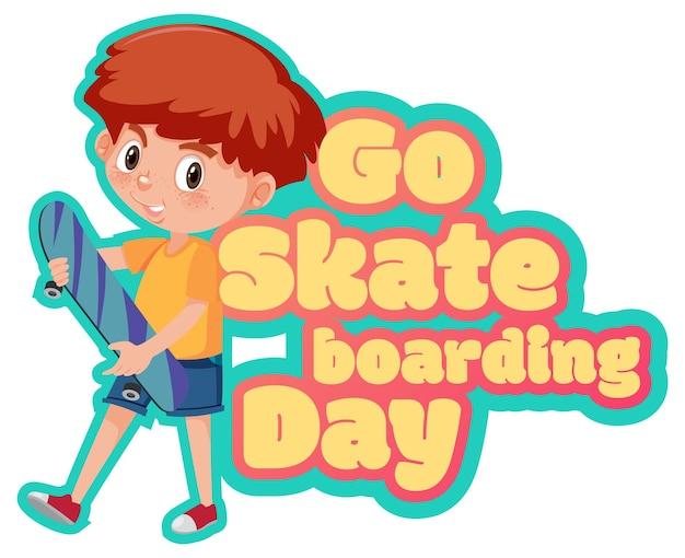 소년 스케이팅 만화 캐릭터와 함께 스케이트 보드 데이 배너 이동