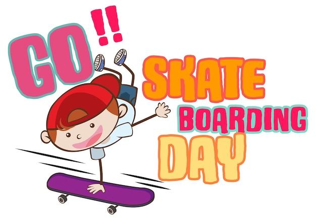 男の子のスケーターの漫画のキャラクターとスケートボードの日のバナーに行く