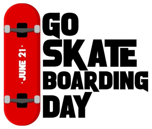 スケートボードを分離してスケートボードの日のバナーに行く