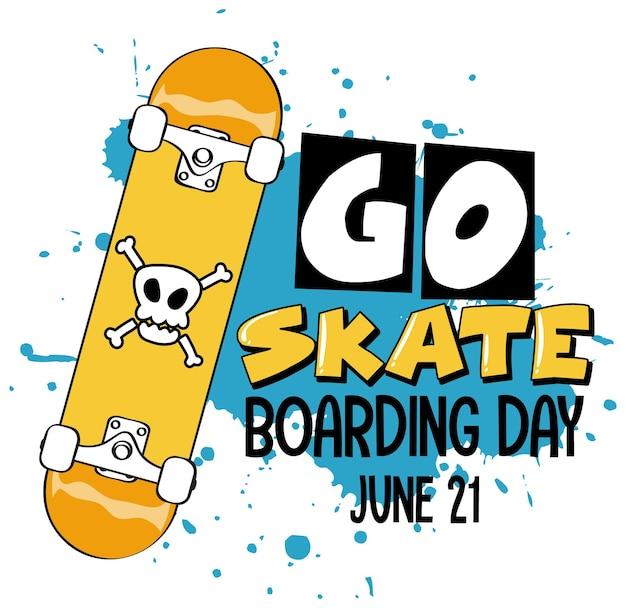 스케이트보드가 분리된 스케이트보드 데이 배너로 이동