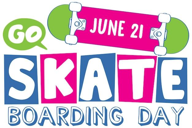 漫画スタイルのバナーでスケートボードの日フォントを移動します