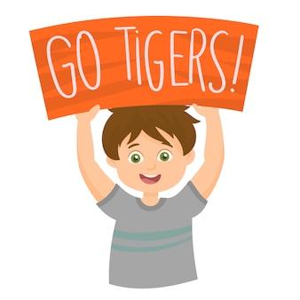 大きなプラカードと「go tigers!」というテキストを持つ熱狂的な少年