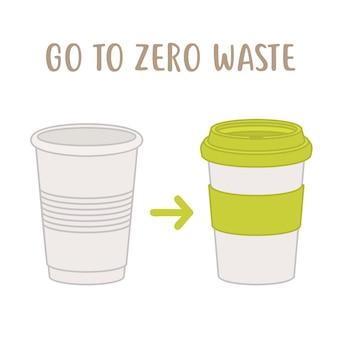 폐기물 제로화-일회용 컵 대 재사용 가능한 컵. 적은 플라스틱