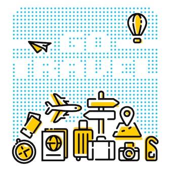 Go travel modern line illustrations
