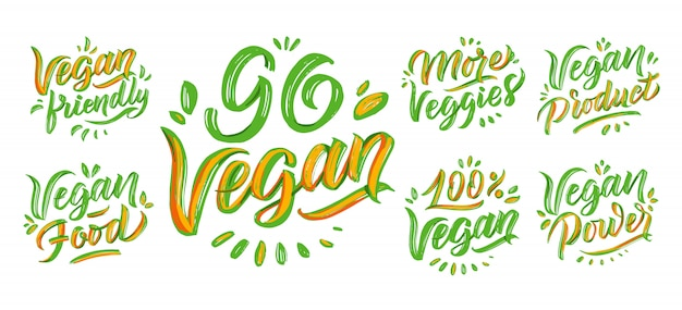 Go vegan lettering phrases, logos set. handwritten compositions