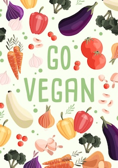 신선한 유기농 야채 컬렉션으로 채식주의 자 수직 포스터 템플릿 이동