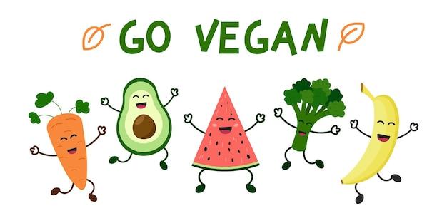 Стань веганом всемирный день вегетарианцев счастливые милые овощи и фрукты веселятся концепция здорового питания