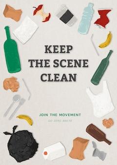 Vai a zero rifiuti modello, mantieni pulito il poster della scena