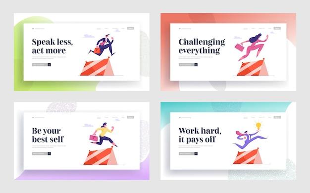 Достижение цели путь к успеху набор целевой страницы веб-сайта деловые люди бегают