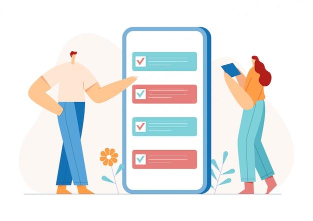 График планирования достижения цели. бизнесмены, маркировка контрольный список в смартфоне. концепция бизнес-задач.