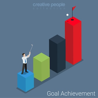 Goal achievement step up flat isometric business success concept  businessman golf club stroke to hole on highest bar graphic indicator.