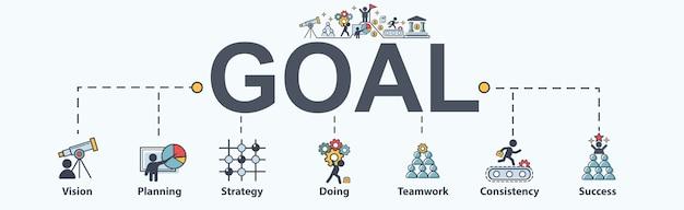 Goal banner web icon set showing success diagram.