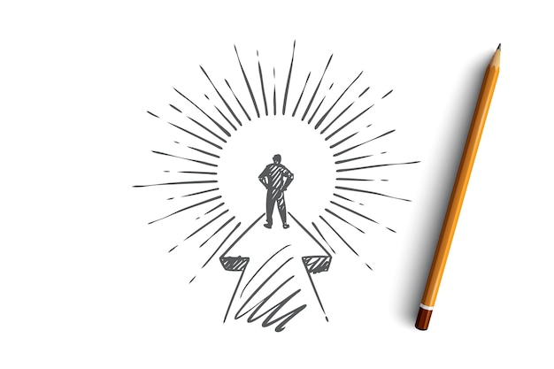 Goal, career, startup, leader, businessman concept. hand drawn purposeful businessman on his way concept sketch.