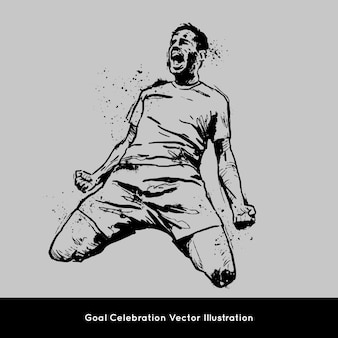 Goal celebration vector handrawn