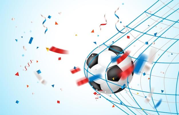 Концепция цели. кожаный футбольный мяч на сетке