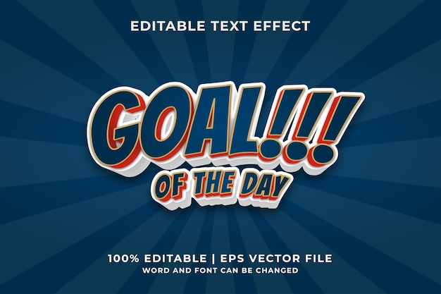 Goal of the day editable text effect style premium vector