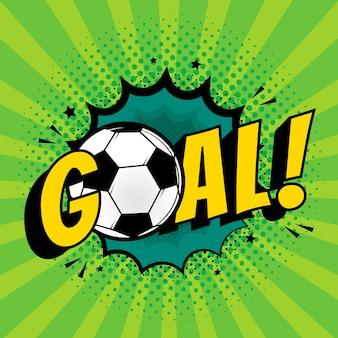 Goal football comic style text pop art retro style