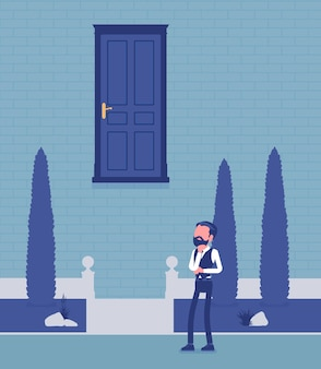 Goal hard to reach, businessman thinking. male manager perplexed with difficult business task, unable to understand how to get, find decision, choose strategy. vector illustration, faceless characters
