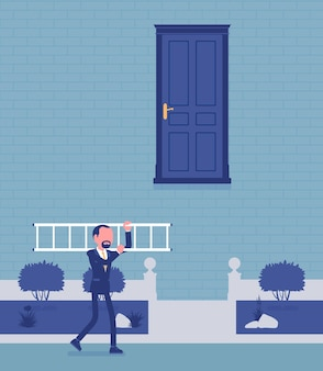 Goal hard to reach and solution. businessman got answer, a ladder to open door, takes decision, solving problem or dealing with a difficult business situation. vector illustration, faceless characters