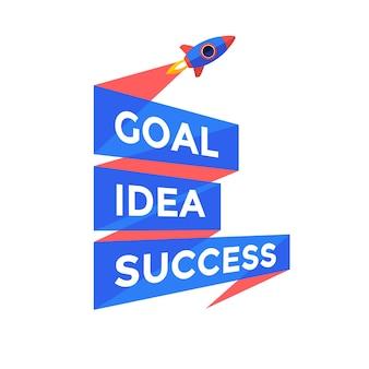 Goal, idea, success. emblem template with three line ribbon