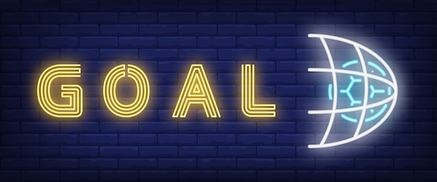 Goal neon text with soccer ball in net